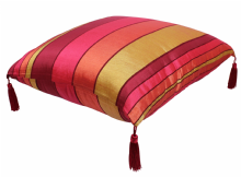 Moroccan Floor Cushion Pillow Red Sabra Cactus Silk with Tassels 70 cm x 70 cm / 27.6 x 27.6 (CS2)